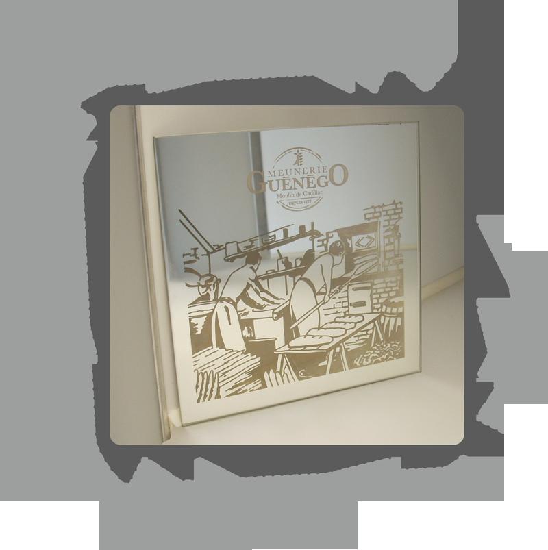 Slog print marquage gravure et d coupe laser par slog pring for Gravure sur miroir